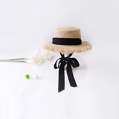 DZHUALEY Cappelli da Sole in Rafia Intrecciata a Mano per Donna Estate Donna All'aperto Ombrellone Cappello di Paglia Cappello da Spiaggia Cappello Pieghevole Nero