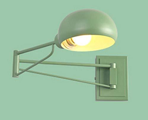 Moderne installatie van de wandlamp met lange arm binnen oscillatie bed plafondlamp leeslamp dubbelkop verstelbaar groen decoratie met schakelaar