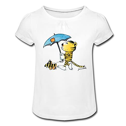 Janosch Kleiner Tiger Tigerente Mit Schirm Mädchen T-Shirt mit Raffungen, XS, Weiß