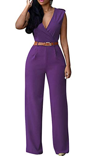 Pink Queen Women's Purple Deep v Neck Sleeveless Loose Long Jumpsuits Rompers S Purple Small