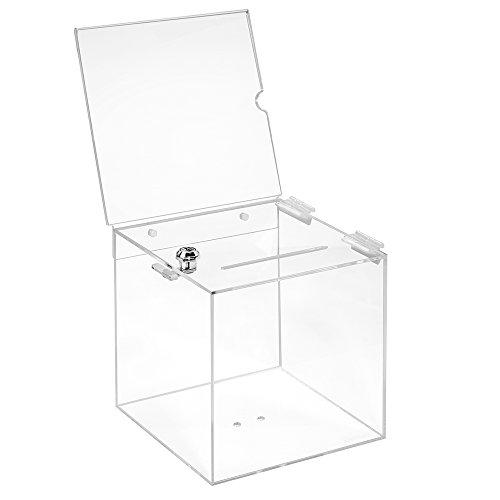 Losbox in vetro acrilico in 200 x 200 x 200 mm con serratura e targhetta 210 x 210 mm – Zeigis®/scatola per donazioni/scatola gioco di profitto/trasparente/acrilico/Plexiglas®/chiudibile/bloccabile