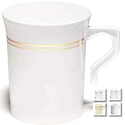 """"""" OCCASIONS"""" 40 Mugs Pack, Heavyweight Disposable Wedding Party Plastic 8 oz Coffee Mugs/Tea Cups/Cappuccino Cups/Espresso Cup with Handles (8 oz Coffee, White & Gold Rim)"""