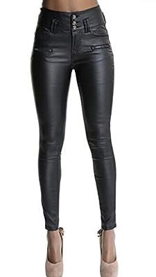 "Ecupper Womens Black Faux Leather Pants High Waisted Skinny Coated Leggings 26"" Inseam-Petite L-38"