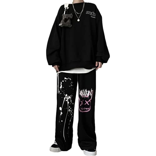 Skateboard Frog Men Women Unisex Hip Hop Streetwear Goth Anime Printed Harajuku Joggers Sports Pants (Black 4, M)