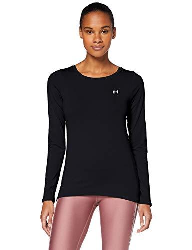 Under Armour UA HG Armour Long Sleeve, ligera camiseta deportiva, camiseta de manga larga mujer, Black / Metallic Silver, M