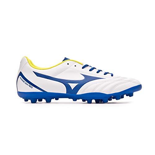 Mizuno Monarcida Neo Select AG, Bota de fútbol, White-Mazzarine Blue-Safety Yellow
