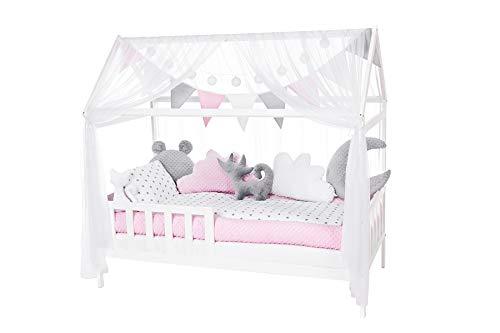 NIUXENDESIGN® HB-01 Baby Bett Haus Kinderbett 160x80 Juniorbett Inkl. Bettset, Matratze, Kissen, Design: Sternchen (Minky rosa, grau)