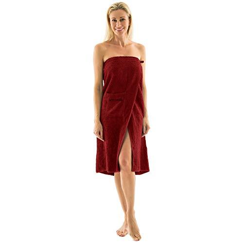 aqua-textil Wellness Saunakilt Damen 90 x 150 cm Bordeaux rot Baumwolle Saunasarong Frottee Kilt Langer Schnitt