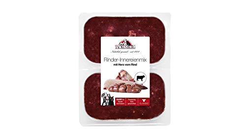 TACKENBERG Barf Hundefutter (Rinder-Innereienmix mit Herz), Barf Futter, 7-14 kg Barf Fleisch Hunde in kleinen Portionen gefroren
