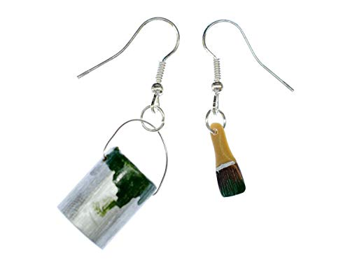 Farbeimer Pinsel Set Ohrringe Farbe Lack Miniblings Maler Künstler Malerset grün