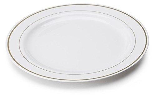 MOZAIK Piatti di plastica bianchi con oro argentato da 15 cm, 20 pezzi