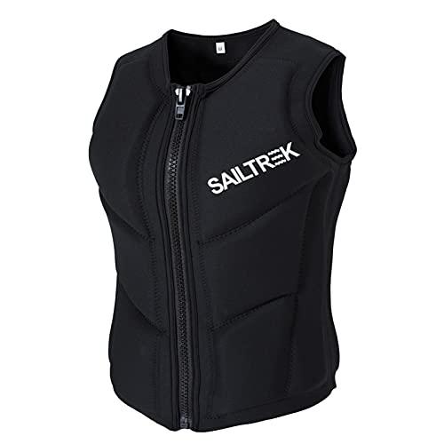 FSDH Chaqueta de Rescate de Nylon Impermeable con cinturón de Seguridad Ajustable, Chaleco de natación para Adultos, Chaleco de Vida de Pesca de Primeros Auxilios de kaya Black-M