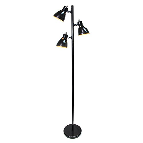 Simple Designs Home LF2007-BLK Simple Designs, Black Metal 3-Light Tree Floor Lamp, Finish