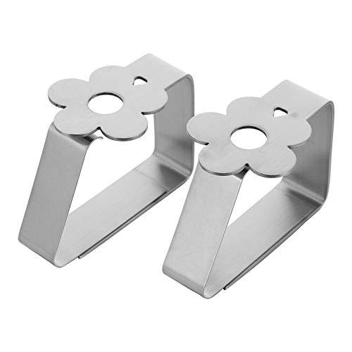 Clip de mantel de acero inoxidable con clip gráfico de 3 cm de calibre alto elástico fijo clip a prueba de viento (flor 2 unids/juego)