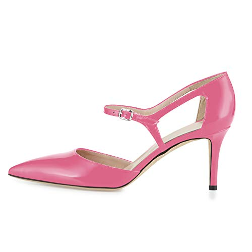 MOCORALS Hot Pink Ankle Strap Pointed Toe Mid Heel Buckle 3.5 Inch Patent Stiletto Chinese Laundry Shoes for Women Heels and Pumps Size 10.5