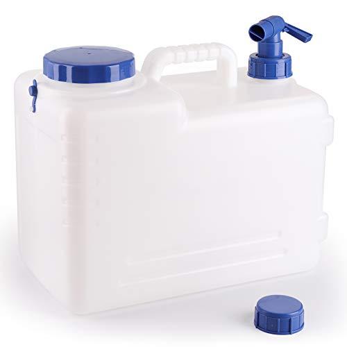 Bekith Bidón de Agua con Grifo Tapa de Rosca Ancha Accesorio de Camping Sin BPA, 15 L