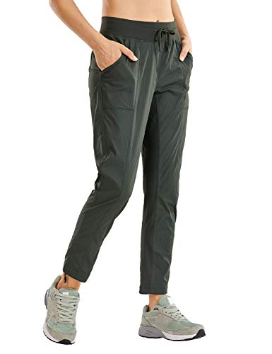 CRZ YOGA Women's Studio Joggers Striped Travel Lounge Pants Drawstring 7/8 Workout Casual Track Pants with Pockets Olive Green Medium