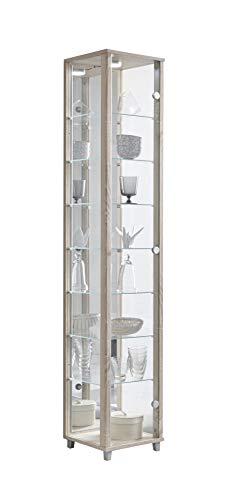 BR-Wohndesign Glasvitrine Sammlervitrine Vitrine Standvitrine mit LED und 7 Glasböden höhenverstellbar ESG Glas in Sonoma Eiche Dekor 172x32x33 cm