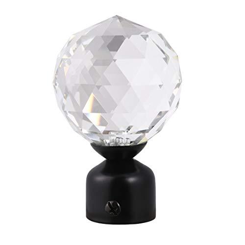 WINOMO, asta per tenda Finials con sfera di cristallo, per finestra, decorazione moderna, colore nero