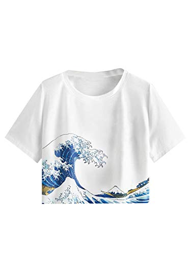 SweatyRocks Women's Short Sleeve Wave Graphic Print Crop Top T-Shirt Casual Tee White S