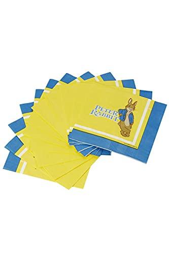 Smiffys 52653 Lot de 16 serviettes de table Peter Rabbit sous licence officielle pour enfant Multicolore Taille unique
