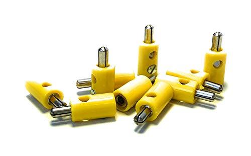 BELI-BECO 61/7 Querlochstecker - Miniatur-Bananenstecker mit Stift-Ø: 2,6mm - 10 Stück (Gelb)