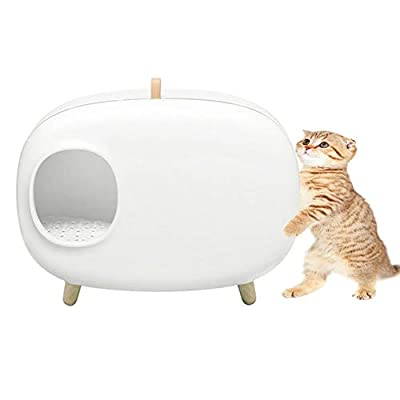 N / A HAIBING Cat Litter Tray, Cat Litter Box with Litter Shovel Cat Litter Boxeasy with Non-slip Feet Access for Cleaning (Color : White, Size : 604 * 457 * 385mm)