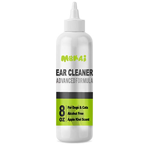 MOKAI Ear Cleaning Solution for Dogs and Cats   Dog Ear Cleaner Advanced Formula for Brown Infections Yeast Infection Antibiotic Treatment Ear Wash Alcohol Free Apple and Kiwi Scent (8oz)