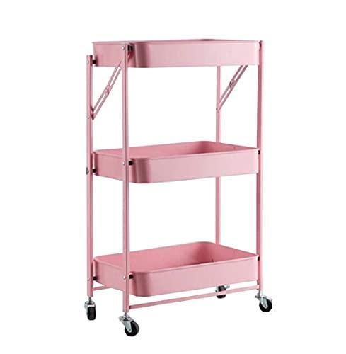Organizador de almacenamiento con espacio para 3 capas, con ruedas, para almacenamiento de vegetales delgado, drenaje hueco para el hogar, cocina, baño, 45 x 29,5 x 77 cm (color: rosa)