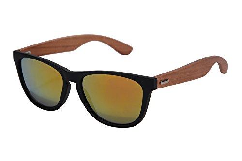 SHINU Wooden Sonnenbrille UV400 Verspiegelten Bunten Flash-Spiegel-Objektiv-Holz Brillen-Z6100(matte black-zebra wood, orange)
