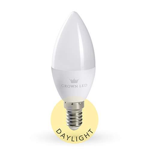 CROWN LED Tageslicht Glühbirne Vollspektrum - Simuliertes Tageslicht, über 10.000 LUX bei 0,1 Meter Abstand, E14 Fassung, 7W, Ersetzt 70W Birne, 650 Lumen, 230V, DL02