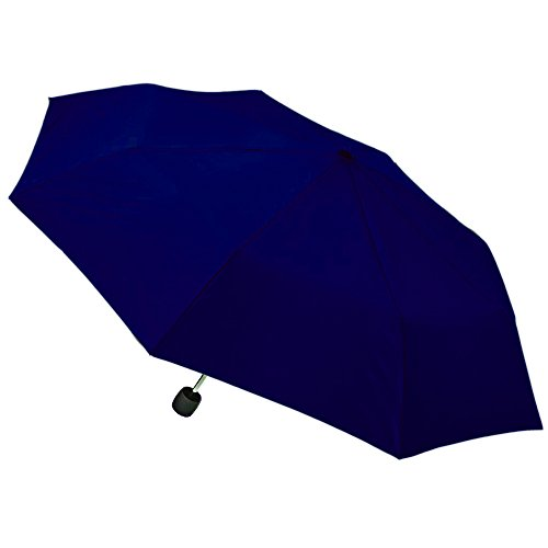 """totes Umbrella Mini Compact for Kids Adults - 38"""" Coverage, Manual with Clip (Backpack, Purse, Stroller Size) (Navy Blue)"""