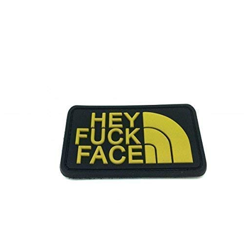 Hey Fuck Face PVC Airsoft Velcro Patch Oro