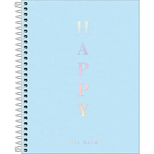Caderno Capa Plástica Colegial Happy, 1 Matéria 80 Folhas, Tilibra, Azul
