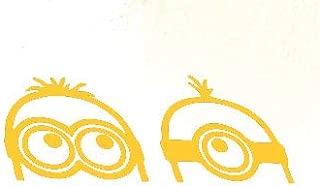 Creative Concepts Ideas Two 2 Minions Peeking Gold Yellow CCI Decal Vinyl Sticker Cars Trucks Vans Walls Laptop Yellow 7.5 x 2.75 in CCI2222