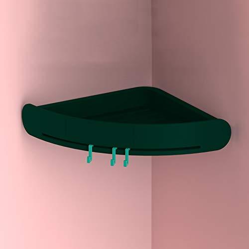 PPuujia Estante de baño Estante de almacenamiento de baño Organizador de inodoro Bandeja de bañera Soporte de esquina montado Impermeable Accesorios de cocina (Color: verde oscuro, tamaño: 1 unidad)