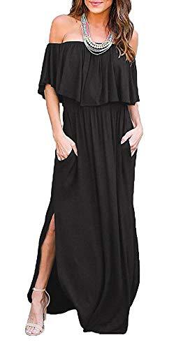 Othyroce Maternity Wedding Summer Maxi Black Dress Off The Shoulder Ruffle Summer Beach Dress S