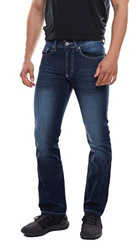 bruno banani Jeans Used-Washed-Hose nietenverzierte Herren 5-Pocket-Jeans mit Crinkle-Effekten Denim Jeans-Hose Blau, Größe:W29/L30