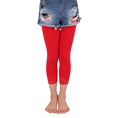 L&K-II collant bambina 3/4 balletto senza piedini/leggings con pizzo 27250 rosso