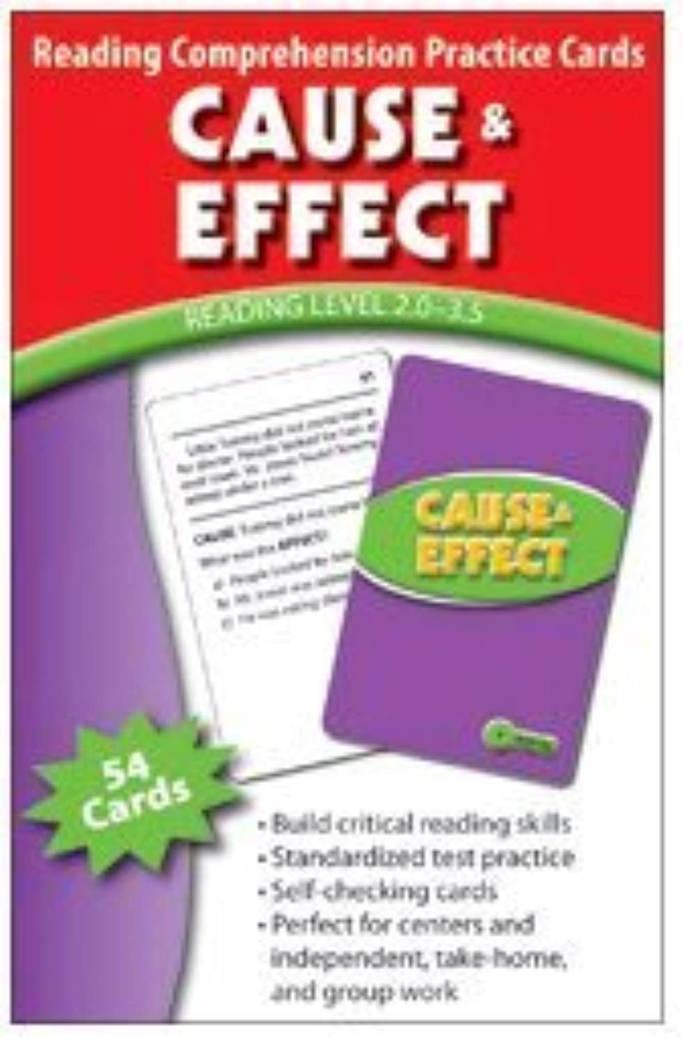 Cause & Effect Reading Comprehension Practice Cards by Edupress