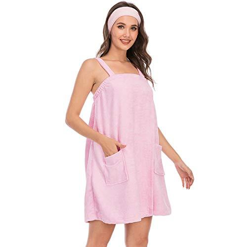 Toalla de baño para mujer para ducha de spa, bata ajustable y diadema facial con bolsillo, ropa de dormir cómoda para el hogar, rosa, XXL