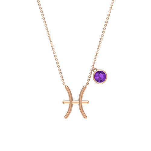 Amethyst Necklace For Women, Pisces Necklaces (AAA Quality), 14K Rose Gold
