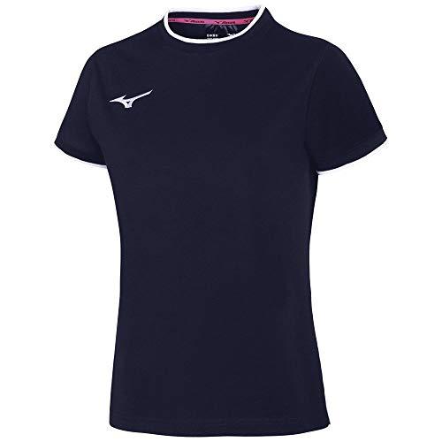 Mizuno Tee W T-Shirt pour Femme XL Marine/Blanc (Navy/White)