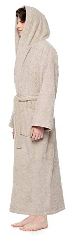 Albornoz para hombre con capucha, largo hasta la pantorrilla o hasta los tobillos, 100% rizo de algodón, con certificado Öko-Tex arena Large