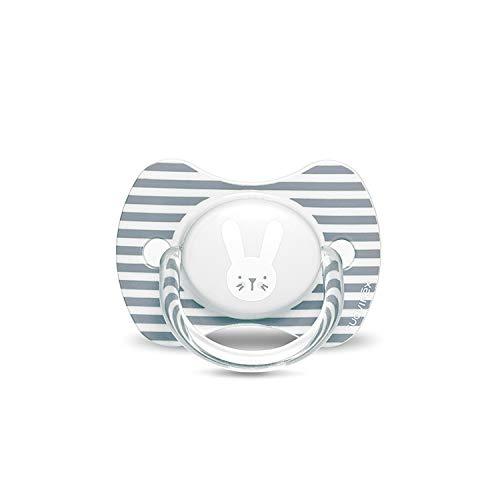 Suavinex - Chupete premium para bebés 6-18 meses. Chupete con tetina fisiológica de silicona. 0% BPA. Color gris.