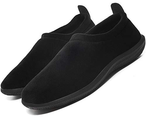 Hombre Mujer Pantuflas de Invierno Unisexo Zapatillas de Estar Cerradas Calienta Pantuflas Zapatos de Pareja Zapatos de Leopardo,Negro,46 EU