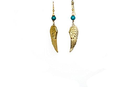Kokomorocco Pendientes Mujer Plumas, alas de Angel, Largos chapados en Oro 18 k con Piedras Naturales, Regalos Originales