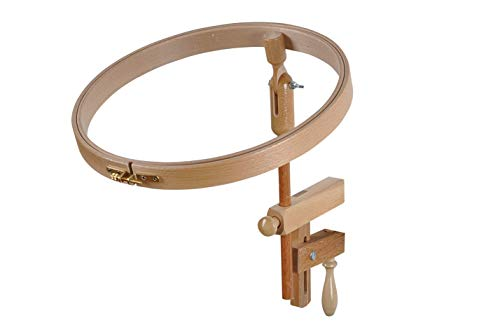 Embroidery Hoop with table clamp | Wooden frame Rack for all tables| Wood circle cross stitch ring with brass screw | Hardwood tension frame| Crosstitch embroidery holder | Needle (9.8 inch / 25.0 cm)