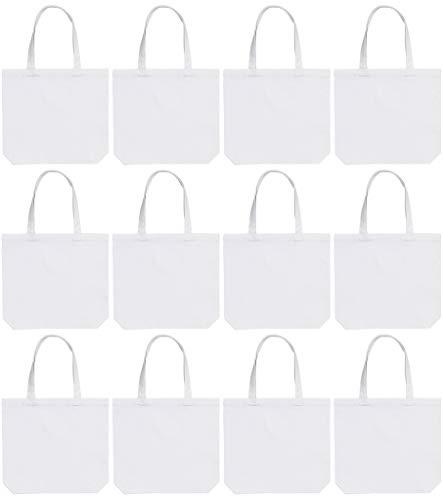 Medium Canvas Tote Bags 14x13x3' 100% Cotton - White 12 Pack