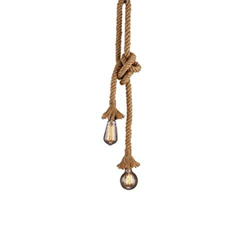 LEDMOMO Vintage Thick Hanfseil, Doppelkopf Anhänger Hanf Lampe Seil Hängen Lichter für Schlafzimmer Restaurant Cafe Bar Land Stil Dekoration 1 Mt